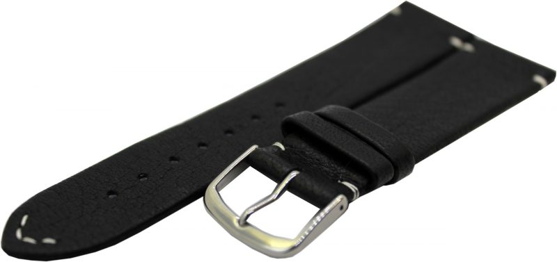 HEKTOR Herren Uhrenarmband aus Elch - Leder schwarz Naht und Futterleder weiß 22mm