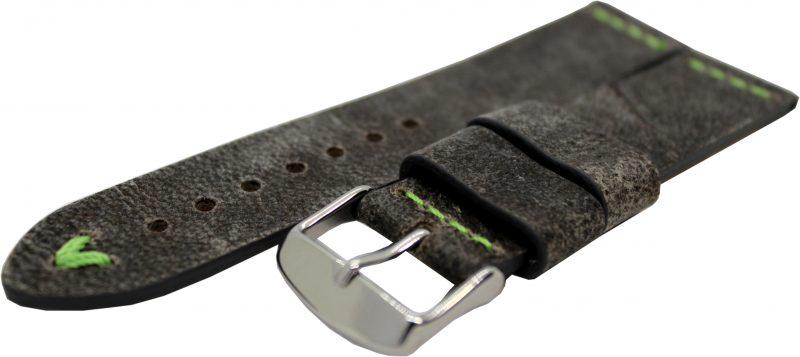HEKTOR Herren Uhrenarmband aus Kamel Leder grau schwarz Naht grün 22mm