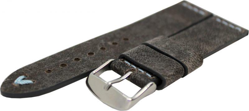 HEKTOR Herren Uhrenarmband Kamel Leder grau schwarz Naht blau 22mm