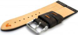 HEKTOR Herren Uhrenarmband Kamel Leder grau schwarz Naht orange 22mm