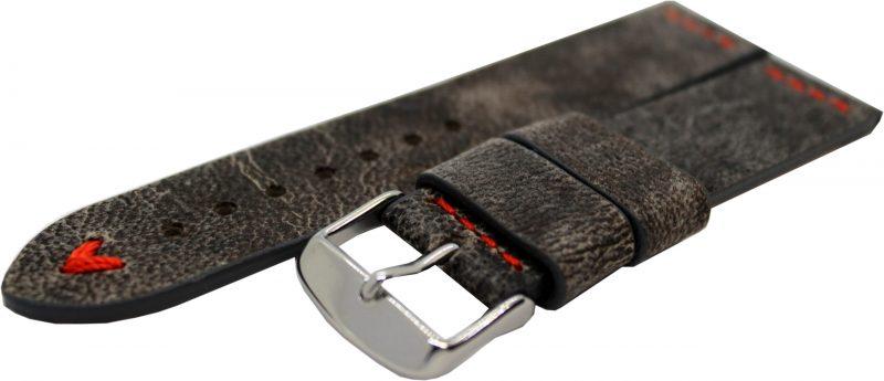 HEKTOR Herren Uhrenarmband Kamel Leder grau schwarz Naht rot 22mm