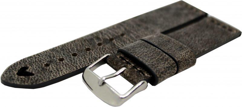HEKTOR Herren Uhrenarmband Kamel Leder grau schwarz Naht schwarz 22mm
