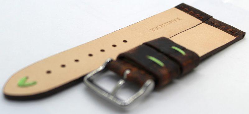 HEKTOR Herren Uhrenarmband aus Kamelleder braun vintage Naht grün 22mm