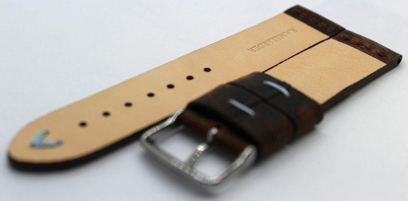 HEKTOR Herren Uhrenarmband aus Kamelleder braun vintage Naht hellblau 22mm