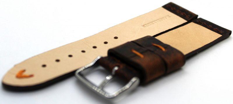HEKTOR Herren Uhrenarmband aus Kamelleder braun vintage Naht orange 22mm