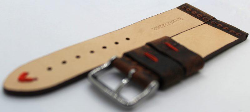 HEKTOR Herren Uhrenarmband aus Kamelleder braun vintage Naht rot 22mm