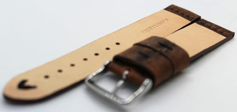 HEKTOR Herren Uhrenarmband aus Kamelleder braun vintage Naht schwarz 22mm