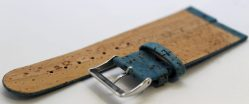 Kork Uhrenarmband aus echtem Kork vegan blau 22mm