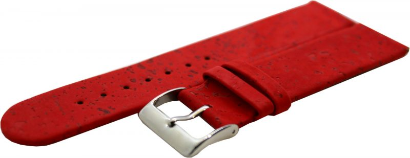 KORK Uhrenarmband aus echtem Kork vegan rot 22mm