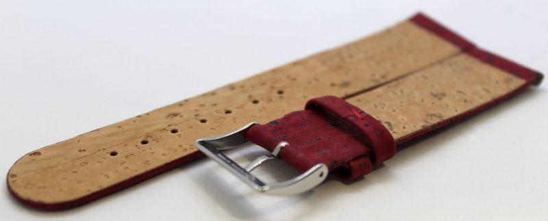 Kork Uhrenarmband aus echtem Kork vegan weinrot 22mm