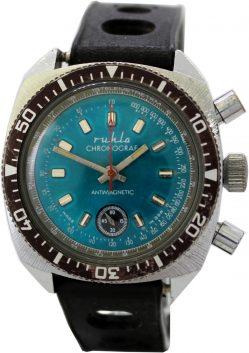 Ruhla Chronograf farbiges Ziffernblatt türkis Made in GDR Herren Sport Taucher Uhr original vintage Uhrband schwarz