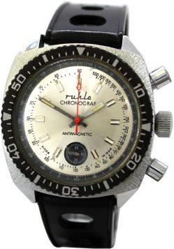 Ruhla Chronograf mit Drehlünette und Telemetre km Anzeige Made in GDR Herren Sport Taucher Uhr original vintage Uhrband schwarz