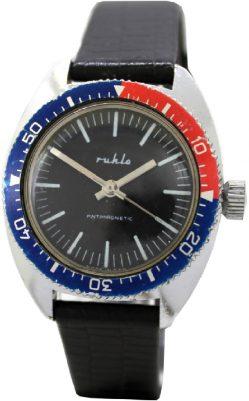 Ruhla Herren Sport Taucher Uhr farbige Drehlünette rot blau Made in GDR original vintage Uhrband schwarz