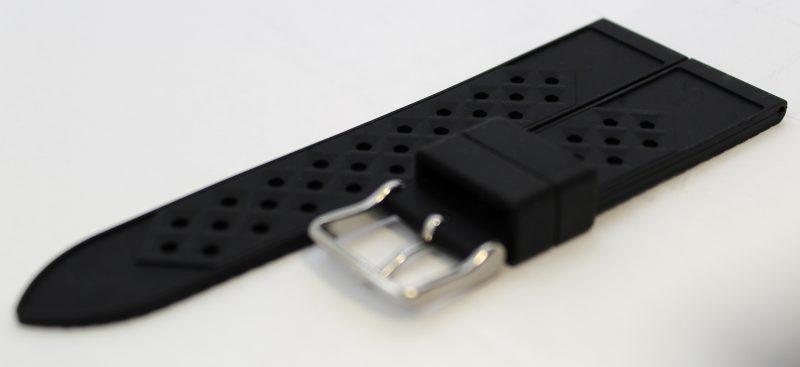 Liporis skin diver Retro Herren Uhrband Silikon schwarz Silikonband gelocht mit Struktur in 18mm,20mm,22mm und 24mm Anstoß lieferbar