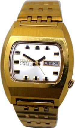 Citizen Herrenuhr Automatik Armbanduhr mechanisch 21 Jewels Tag und Datum vergoldet