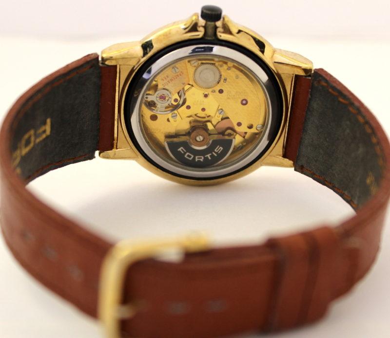 Fortis Spacematic 455 swiss made Herrenuhr Skelettuhr mit Datum 22 Jewels Harley Ronda SA gold Uhrband braun original