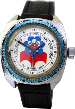 Ruhla Jugendfestival der DDR Herrenuhr Weltzeit Taucheruhr Uhrenarmband schwarz