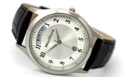 Wartburg Quarz Armbanduhr Tag Datum Edelstahl Lederband schwarz 37mm 5ATM