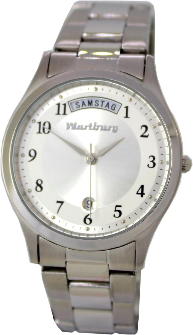Wartburg Quarz Armbanduhr Tag Datum Edelstahl Gliederband 37mm 5ATM