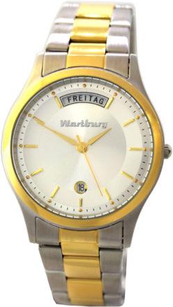 Wartburg Quarz Armbanduhr Tag Datum Edelstahl Uhrband bicolor 37mm 5ATM