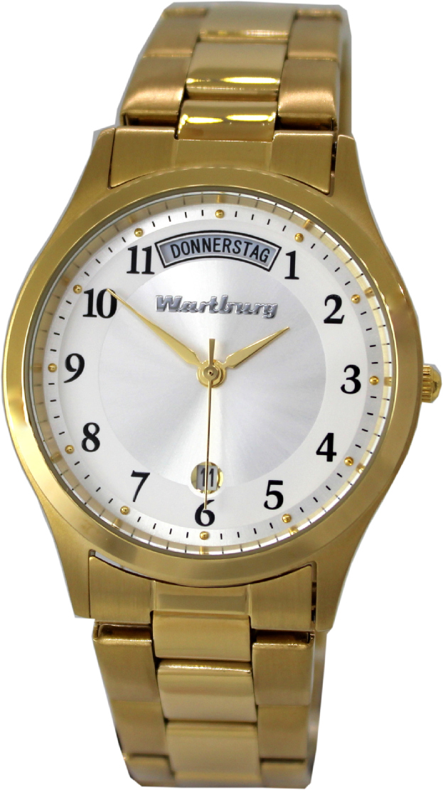 Wartburg Quarz Armbanduhr Tag Datum Edelstahl Uhrband gold IP 37mm 5ATM