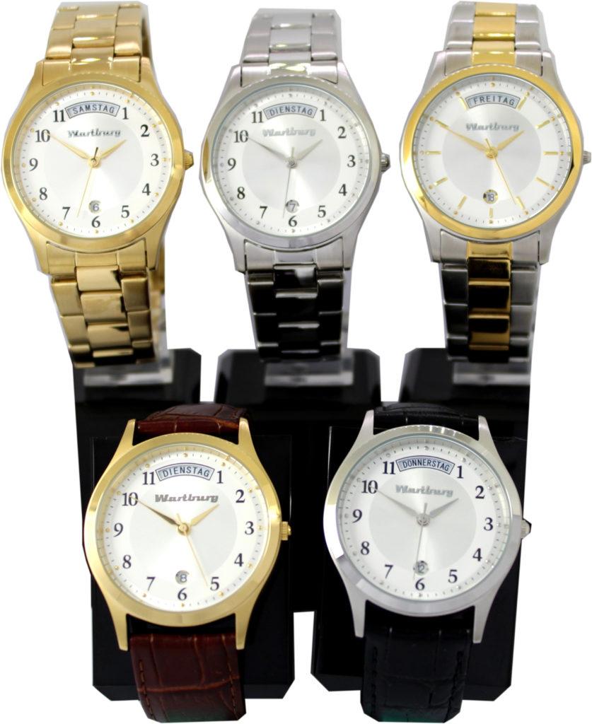 5 verschiedene Wartburg® Armbanduhren mit Tag und Datum in verschiedenen Farben, mit Leder oder Edelstahlband.