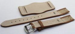 Herren Uhrenarmband Bund mit Unterlage Leder hellbraun 18mm 20mm 22mm lieferbar