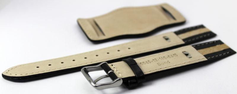 Herren Uhrenarmband Bund mit Unterlage Leder schwarz 18mm 20mm 22mm