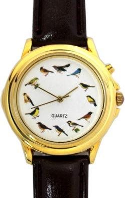 Quarz Uhr Vogel Motiv rund gold 37mm
