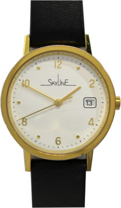 Skyline Damen Quarz Uhr gold rund 33mm mit Datum