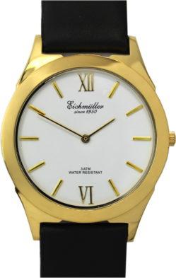 Eichmmüller dress watch Quarz Herrenuhr 42mm gold weiß flach