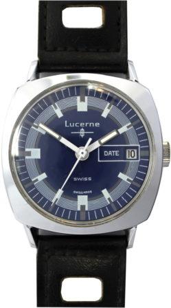 Lucerne Herrenuhr Handaufzug swiss made Ziffernblatt blau mit Datum 34mm