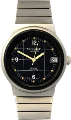 Stunt watch swiss Edelstahl Quarz Uhr 33mm mit Datum und Flexband 100m 330FT Modele Depose 8500