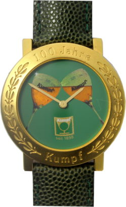 Jubiläumsuhr 100 Jahre Kumpf gold grün Quarz 37mm