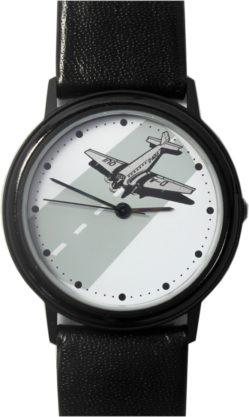 D-AQUI Made in Germany Quarz Uhr Flugzeug Motiv schwarz Lederband 33mm
