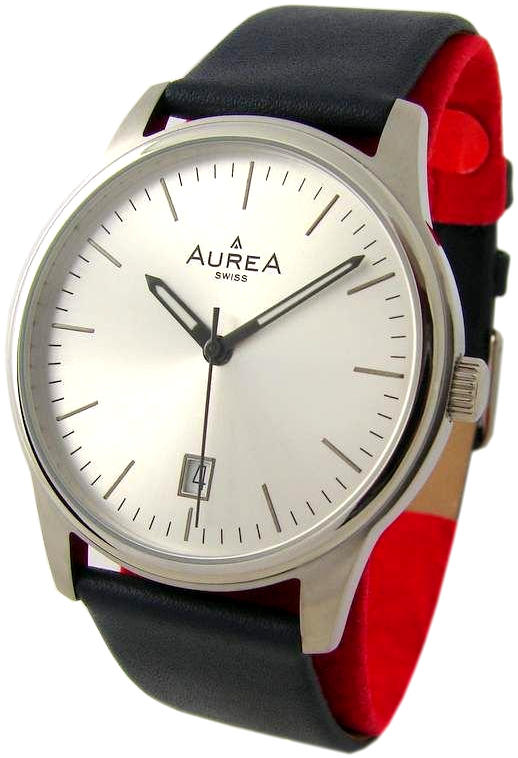 Aurea swiss made Quarz Herrenuhr mit Datum Lederband blau silber 38mm