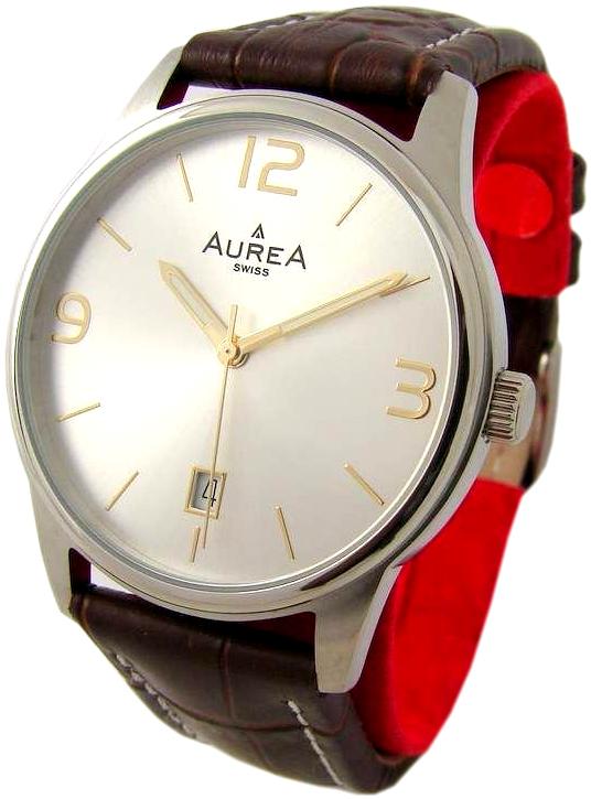 Aurea swiss made Herrenuhr Quarz mit Datum Lederband braun silber 38mm