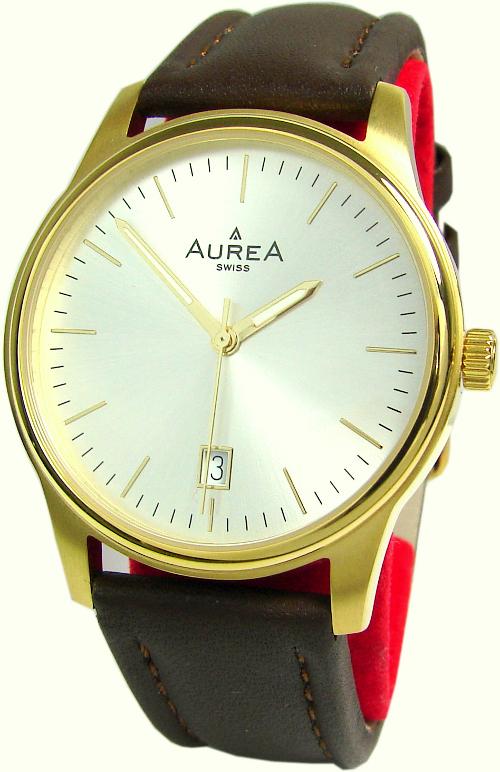 Aurea swiss made Quarz Herrenuhr mit Datum Lederband braun gold 38mm