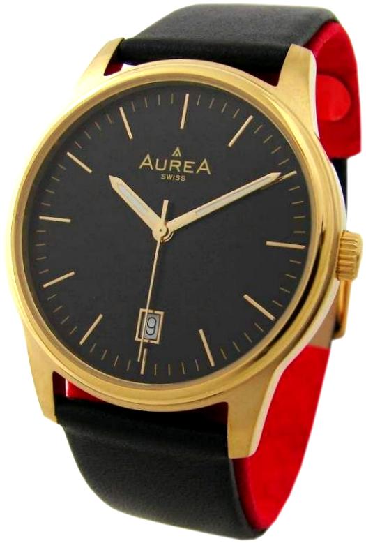 Aurea swiss made Quarz Herrenuhr mit Datum Lederband schwarz gold 38mm