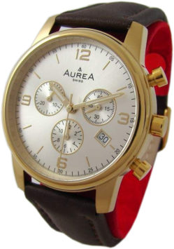 AureA Herrenuhr swiss made Quarz Chronograph Lederband braun gold 40mm CC1601