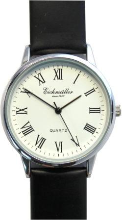 Eichmüller Herrenuhr Analog Quarz weiß Lederband schwarz 36mm 1301-3