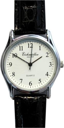 Eichmüller Damenuhr Analog Quarz weiß Lederband schwarz 33,5mm 1301-3