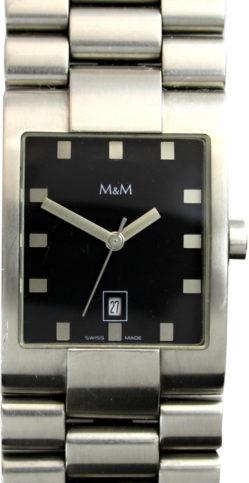 M&M Edelstahl Damenuhr 5391 Quarz swiss made Datum 36mm x 26mm