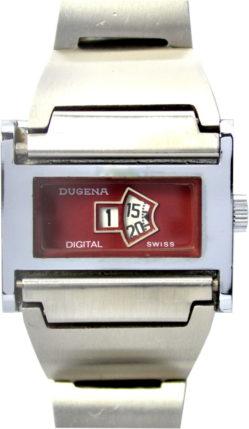 Dugena digital swiss Scheibenuhr Handaufzug mechanisch 32mm x 27mm