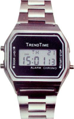 Trend Time LCD Armbanduhr digital Weckalarm Metall 35mm x 35mm