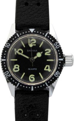 Safira Quarz Uhr mit Drehlünette Ziffernblatt schwarz mit fluoreszierenden Indexen vintage Uhrband