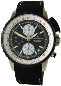 Thunderbirds Fighting Black Chronograph Herrenuhr Edelstahl schwarz weiß 43mm 1057