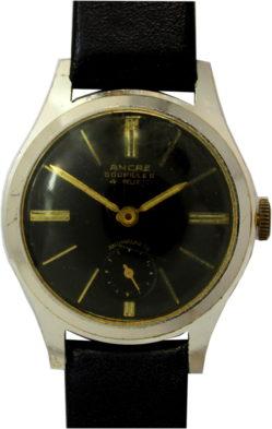 Ancre Goupilles Herrenuhr Handaufzug 4 Rubis dezentrale Sekunde Ziffernblatt schwarz Lederband neu 32mm gebraucht
