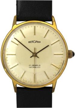Bergana Herrenuhr Handaufzug 17 Jewels Uhrenarmband Leder neu schwarz 34mm