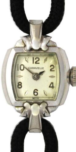 Caravelle Damenuhr Handaufzug swiss made Art Deco Textilband schwarz 16mm gebraucht